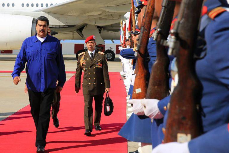 O presidente venezuelano, Nicolás Maduro, ao regressar da Rússia na quinta-feira.