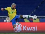 Brazil's Neymar takes a shot in an attempt to score during a Copa America soccer match against Colombia at Nilton Santos stadium in Rio de Janeiro, Brazil, Wednesday, June 23, 2021. (AP Photo/Silvia Izquierdo)