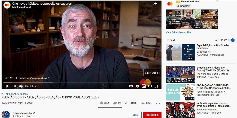Campanha da Mastercard veiculado em vídeo de canal bolsonarista.