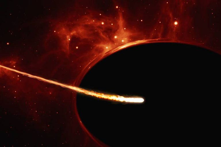 """Representação do buraco negro """"supermassivo"""" engolindo uma estrela como o Sol."""