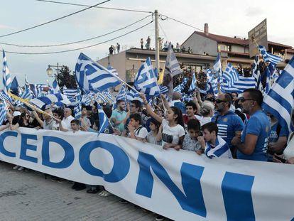 Manifestação contra o uso do nome Macedonia por Skopje, na passada quarta-feira na cidade grega de Pella.