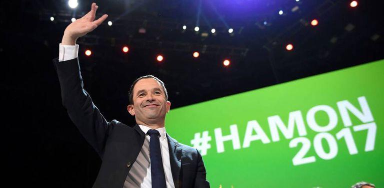 O candidato socialista, Benoît Hamon, neste domingo em Paris.