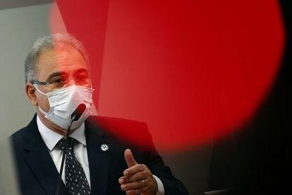 O ministro Marcelo Queiroga durante depoimento na CPI da Pandemia, nesta terça-feira.