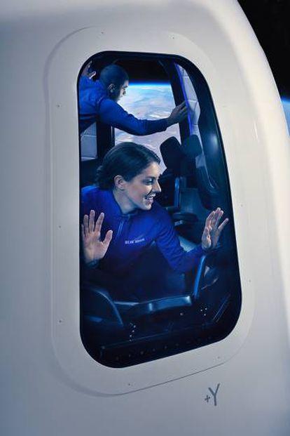 Ilustração de um casal no espaço divulgada pela empresa aeroespacial criada por Jeff Bezos, fundador da Amazon
