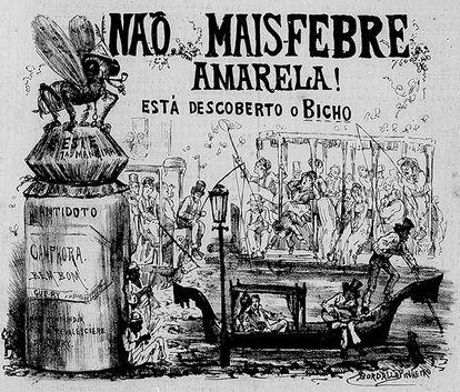 Charge sobre a febre amarela publicada em 1876: o mosquito só seria reconhecido como o transmissor da doença anos mais tarde.