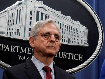 O secretário de Justiça dos EUA, Merrick Garland, durante a entrevista coletiva desta segunda-feira.
