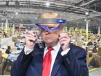 U.S. President Donald Trump during a tour at the Ford Rawsonville Components Plant during the coronavirus disease (COVID-19) pandemic in Ypsilanti, Michigan, U.S., May 21, 2020.