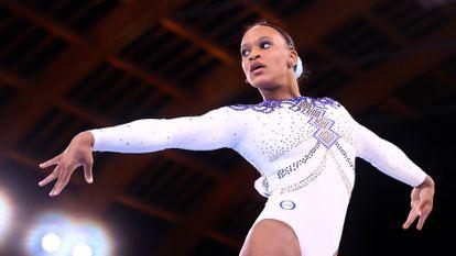 A ginasta brasileira Rebeca Andrade, em Tóquio.