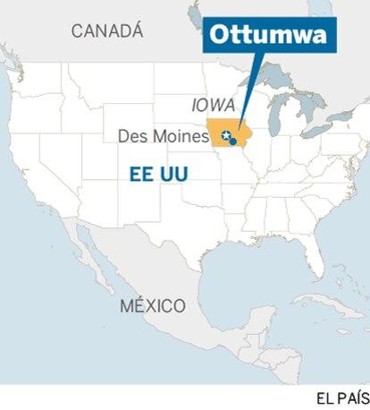 Localização de Ottumwa no mapa dos EUA (em espanhol).