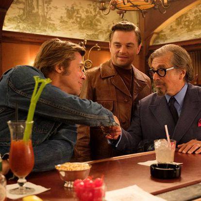 Brad Pitt, Leonardo Di Caprio e Al Pacino em uma cena de 'Era uma Vez em... Hollywood', último filme de Tarantino que estreou nesta quinta-feira, 14 de agosto.