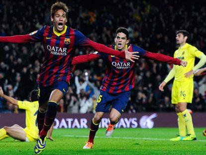 Neymar celebra o gol da vitória.