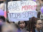 Manifestación en Río de Janeiro a favor de la legalización del aborto, en marzo de 2016.