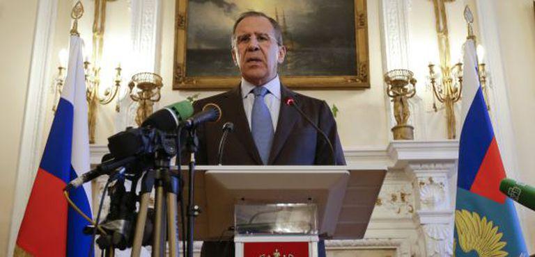 Sergéi Lavrov durante a coletiva de imprensa, nesta sexta-feira.