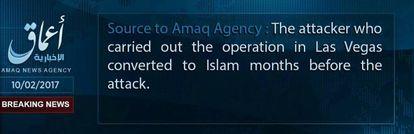 """Comunicado da Amaq, órgão ligado ao Estado Islâmico: """"O atacante que realizou a operação de Las Vegas se converteu ao islã meses antes do ataque"""""""