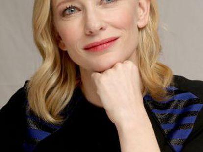 Cate Blanchett durante uma coletiva de imprensa em Beverly Hills.