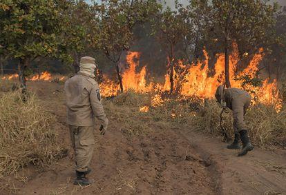 Bombeiros tentam controlar foco de incêndio nas proximidades de Cuiabá, capital do Mato Grosso.