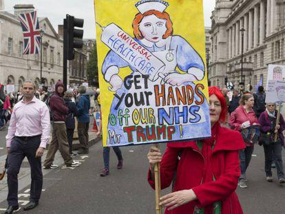 Protesto em Londres contra a visita de Donald Trump ao Reino Unido.