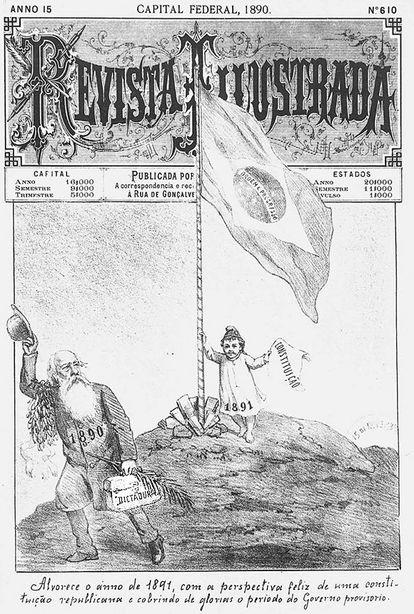 Charge mostra chegada de 1891 e da Constituição.