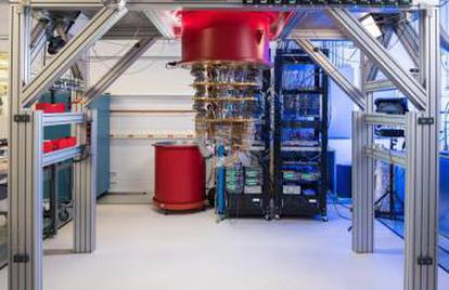 Um dos computadores quânticos do Google em Santa Barbara.