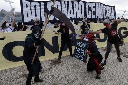 Protesto contra o presidente Jair Bolsonaro em Brasília.