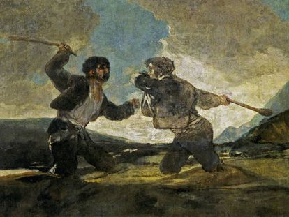 'Duelo com bastões' de Goya se tornou símbolo da violência entre humanos.