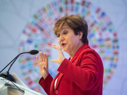 Kristalina Georgieva, diretora-gerente do FMI esta semana em Washington.