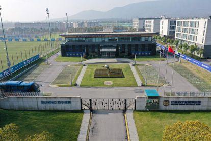 Vista aérea das instalações de treinamento do Jiangsu FC, depois que o clube anunciou o fim de suas operações.