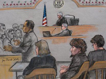 Cena do julgamento de Tsarnaev, o segundo à direita.