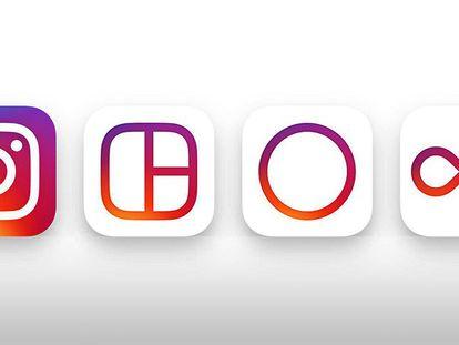 Novo logotipo de Instagram, Layout, Hyperlapse e Boomerang.