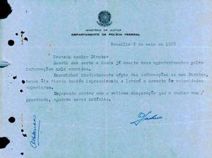 Carta mostra a relação com altas patentes do governo; foi publicada, à época, no Jornal Última Hora.