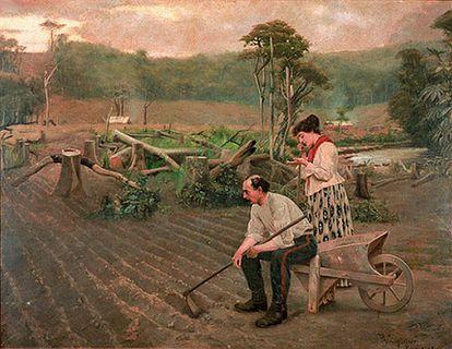 Pintura de Pedro Weingärtner mostra alemães no Sul do Brasil em 1889: latifundiários não queriam que imigrantes europeus tivessem livre acesso à terra.