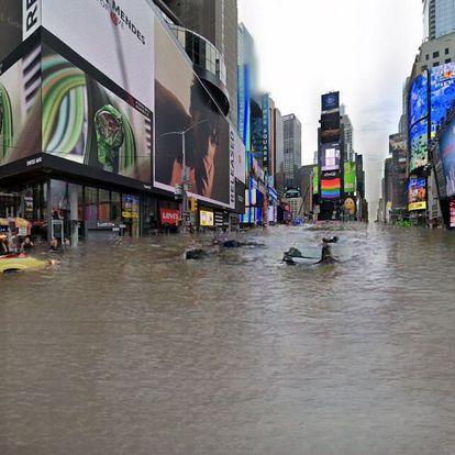 Simulação de inundação na praça Times Square, em Nova York. Um algoritmo encheu de água uma foto retirada do Google Street View.