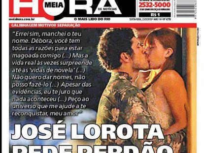 Capa do jornal popular 'Meia Hora' sobre o caso de José Loreto.