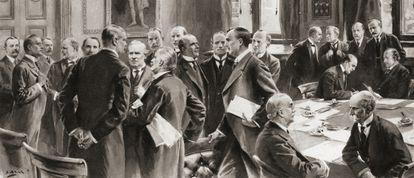 O gabinete britânico da coalizão durante a Primeira Guerra Mundial. Arthur Henderson era o presidente da direção de Educação