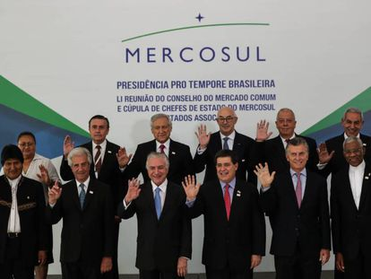 Os participantes da reunião do Mercosul, nesta quinta-feira, em Brasília.
