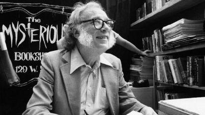 Isaac Asimov em 1984 na livraria Mysterious Book Store de Nova York.