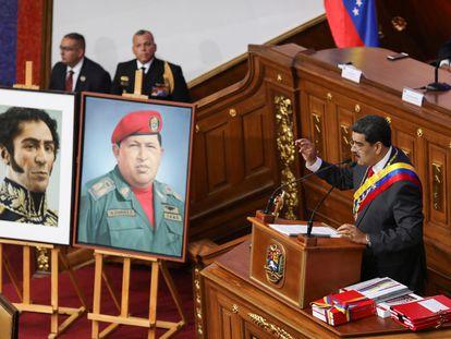 O presidente Nicolás Maduro discursa durante sua prestação de contas anual à Assembleia Nacional Constituinte da Venezuela, nesta quarta.