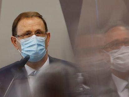 O empresário Carlos Wizard, em depoimento nesta quarta-feira à CPI da Pandemia, no Senado.