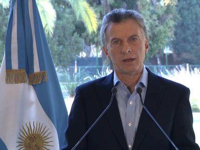 O presidente Mauricio Macri anuncia, na residência oficial de Olivos, o acordo com o FMI para antecipar os recursos do resgate decidido em junho.