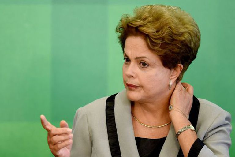 Dilma Rousseff durante evento no Palácio do Planalto.