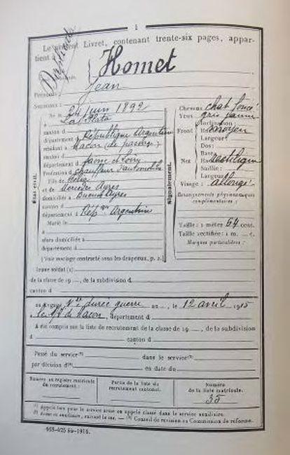A carta de Homet quando se alistou ao exército, obtida do livro 'Diário de um Argentino'.