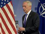 El secretario de Defensa, Jim Mattis, en una rueda de prensa en Bruselas el pasado 29 de junio.