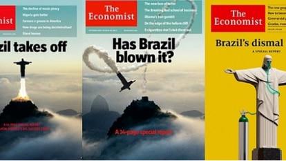 Reprodução das capas da 'The Economist' sobre o Brasil nos últimos anos.