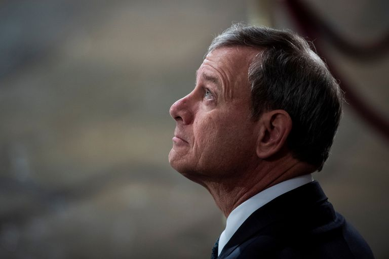 FILE PHOTO: Supreme Court Chief Justice of the United States John G. Roberts, Jr. waits for the arrival of Former president George H.W. Bush to lie in State at the U.S. Capitol Rotunda on Capitol Hill on Monday, Dec. 03, 2018 in Washington, DC. Jabin Botsford/Pool via Reuters/File Photo