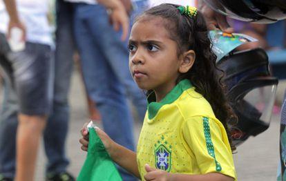 Torcedora brasileira em Salvador, durante a Copa de 2014.