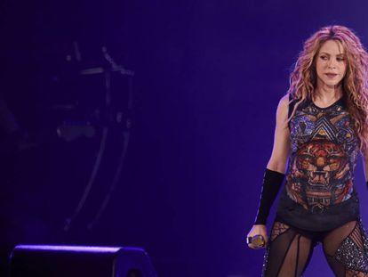 A cantora Shakira, durante sua turnê.