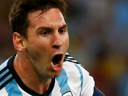 Messi com a camisa argentina.