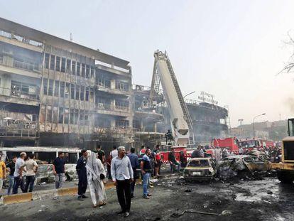 A área do atentado, no distrito de Karrada, em Bagdá.