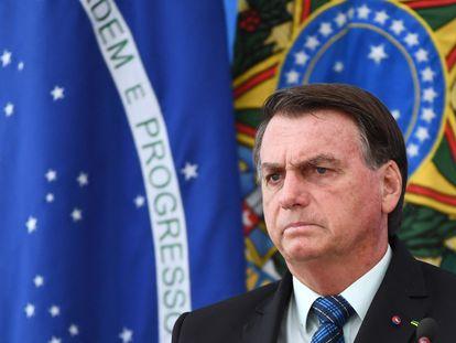Presidente Jair Bolsonaro em evento no Palácio do Planalto no início de fevereiro.