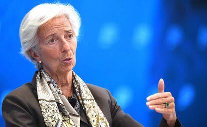 Christine Lagarde, em um ato em Washington ontem.